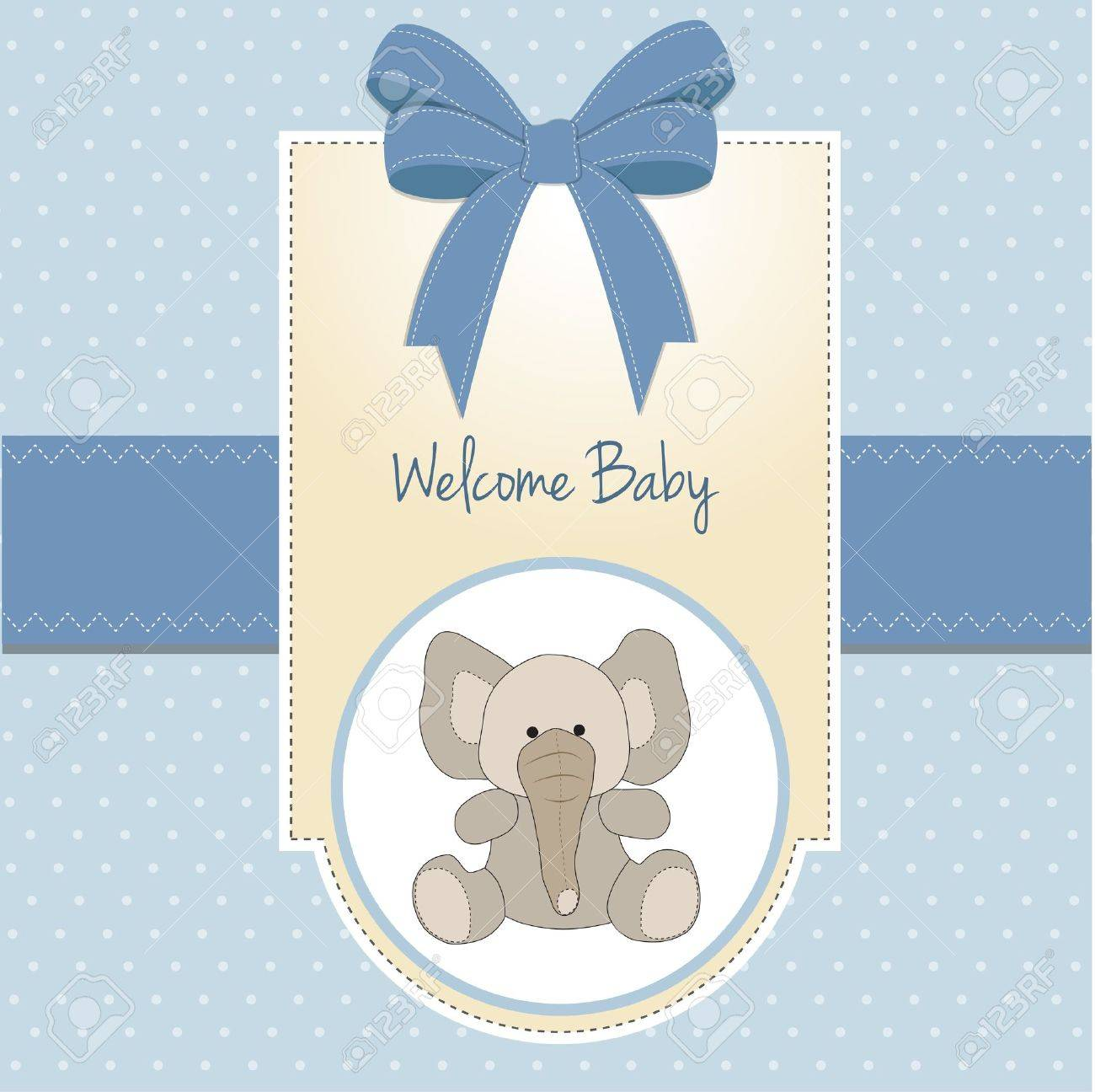 baby boy welcome card with elephant Stock Vector - 11560861