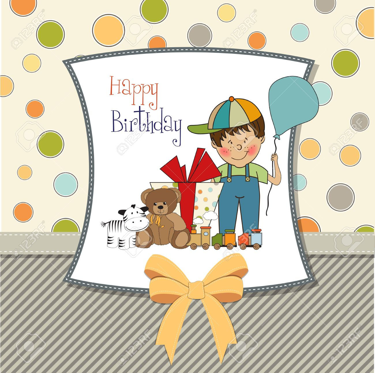 Birthday greeting card with little boy and presents royalty free birthday greeting card with little boy and presents stock vector 11497832 bookmarktalkfo Gallery