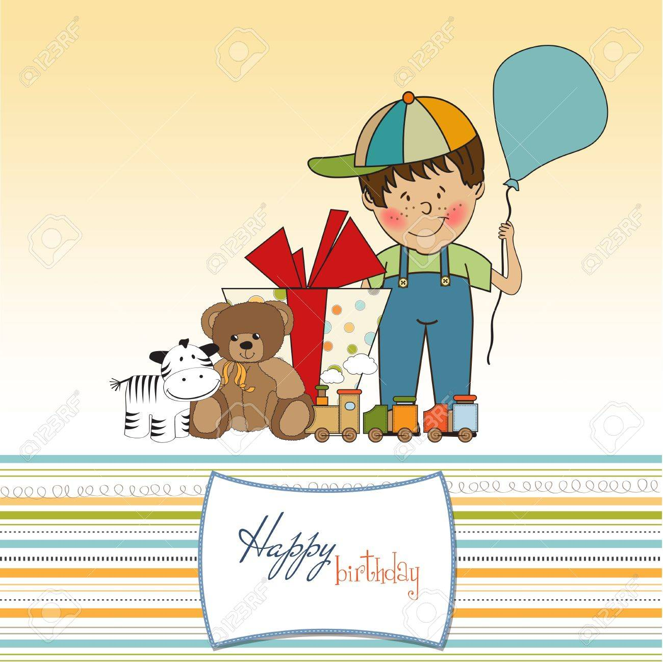 Birthday Greeting Card With Little Boy And Presents Royalty Free