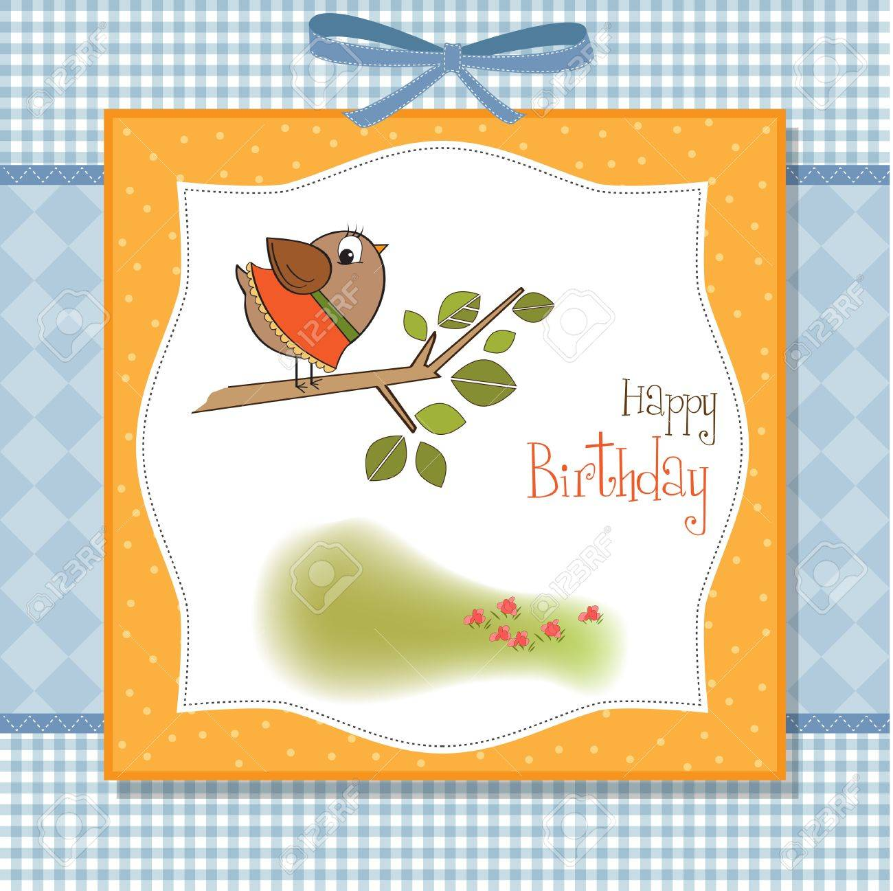 birthday greeting card with funny little bird Stock Vector - 11497814