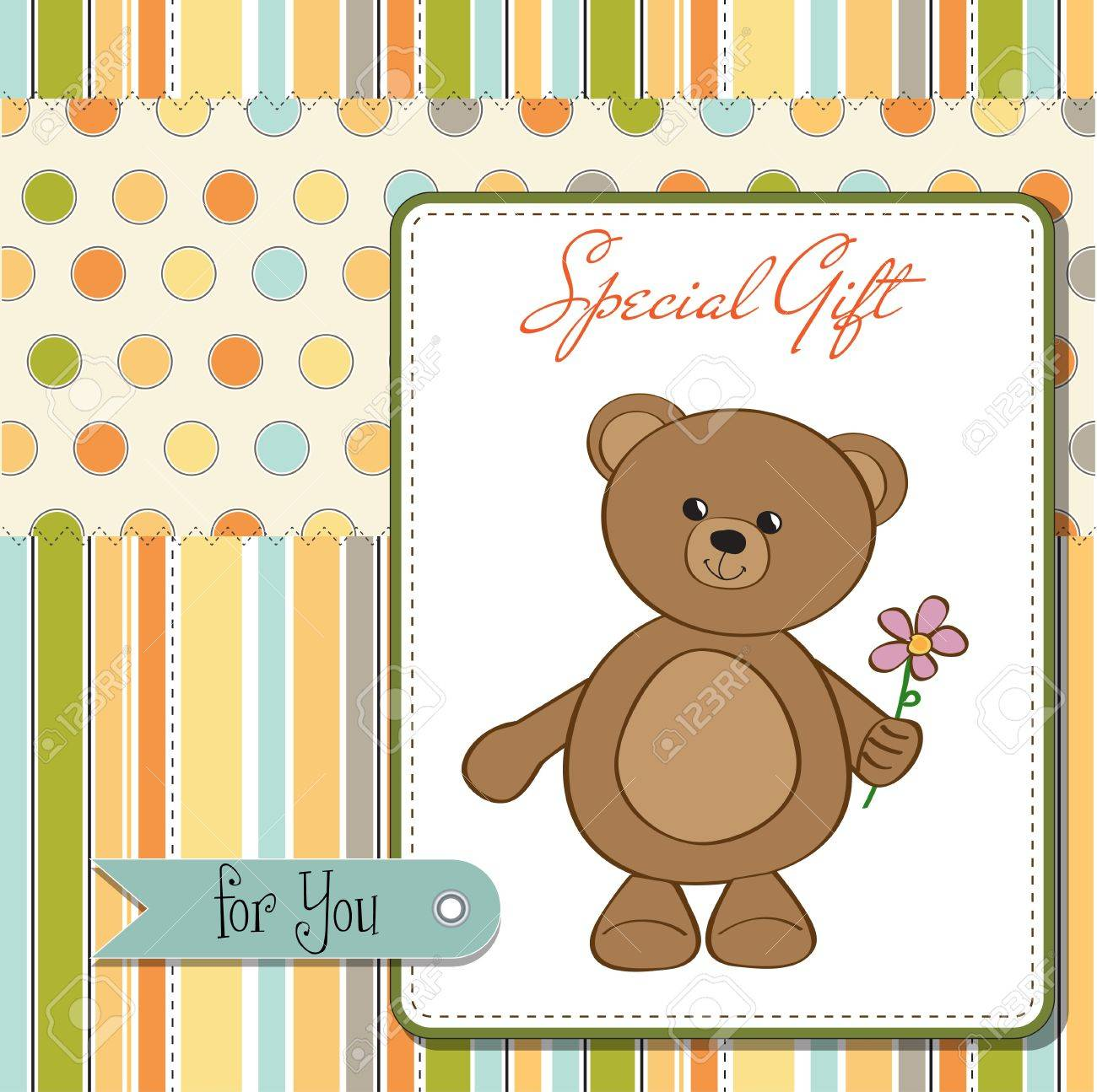 Happy Birthday Card With Teddy Bear And Flower Royalty Free Cliparts
