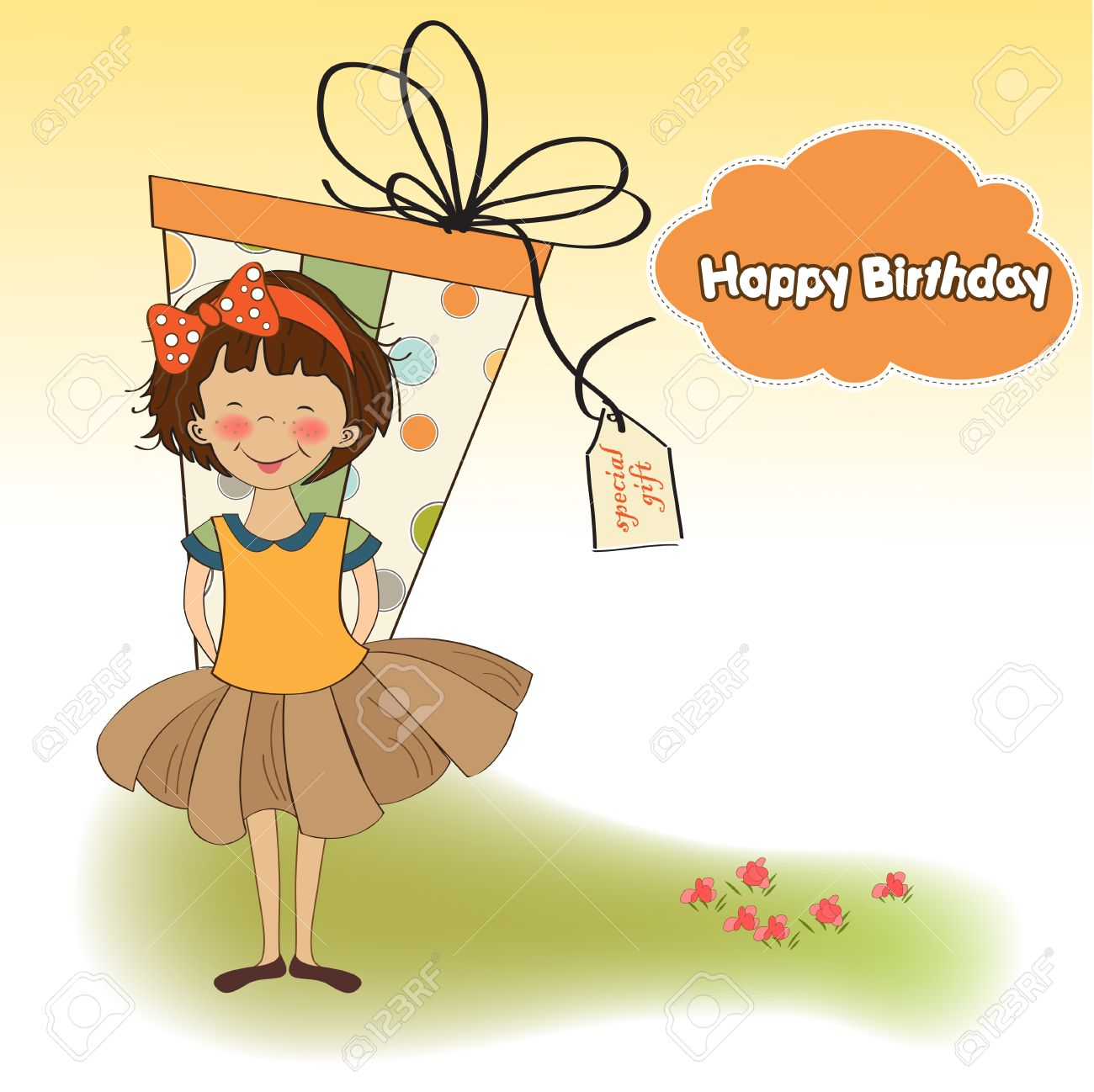 Cute Little Girl Hidden Behind Boxes Of Gifts Happy Birthday – Happy Birthday Card for Little Girl