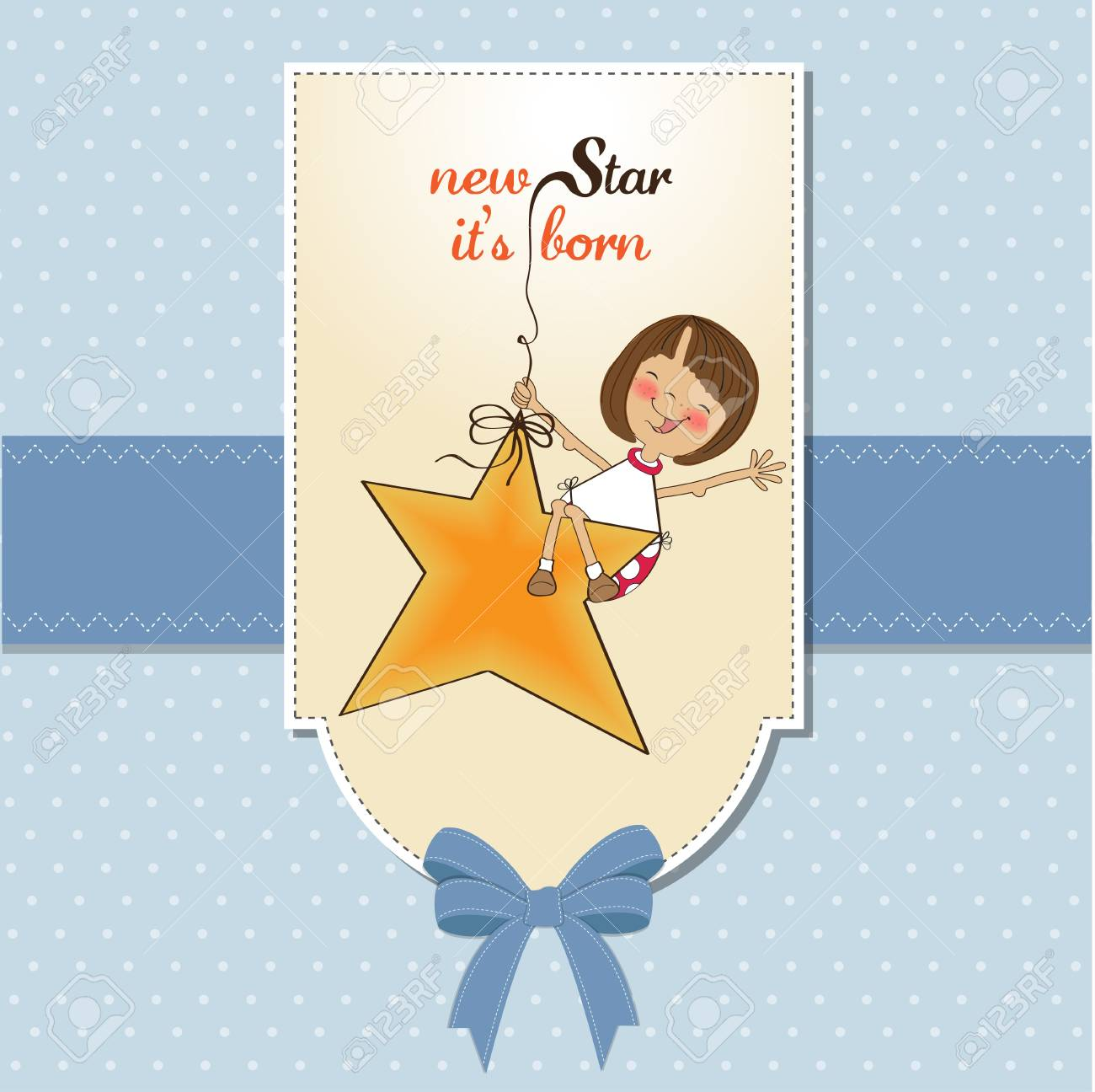 new star it's born.welcome baby card Stock Vector - 11842066