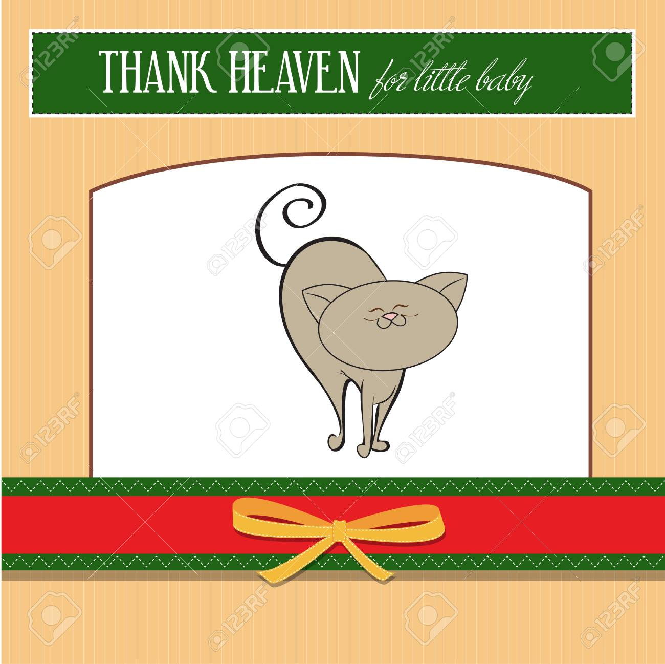 baby announcement card with cat Stock Vector - 12599332