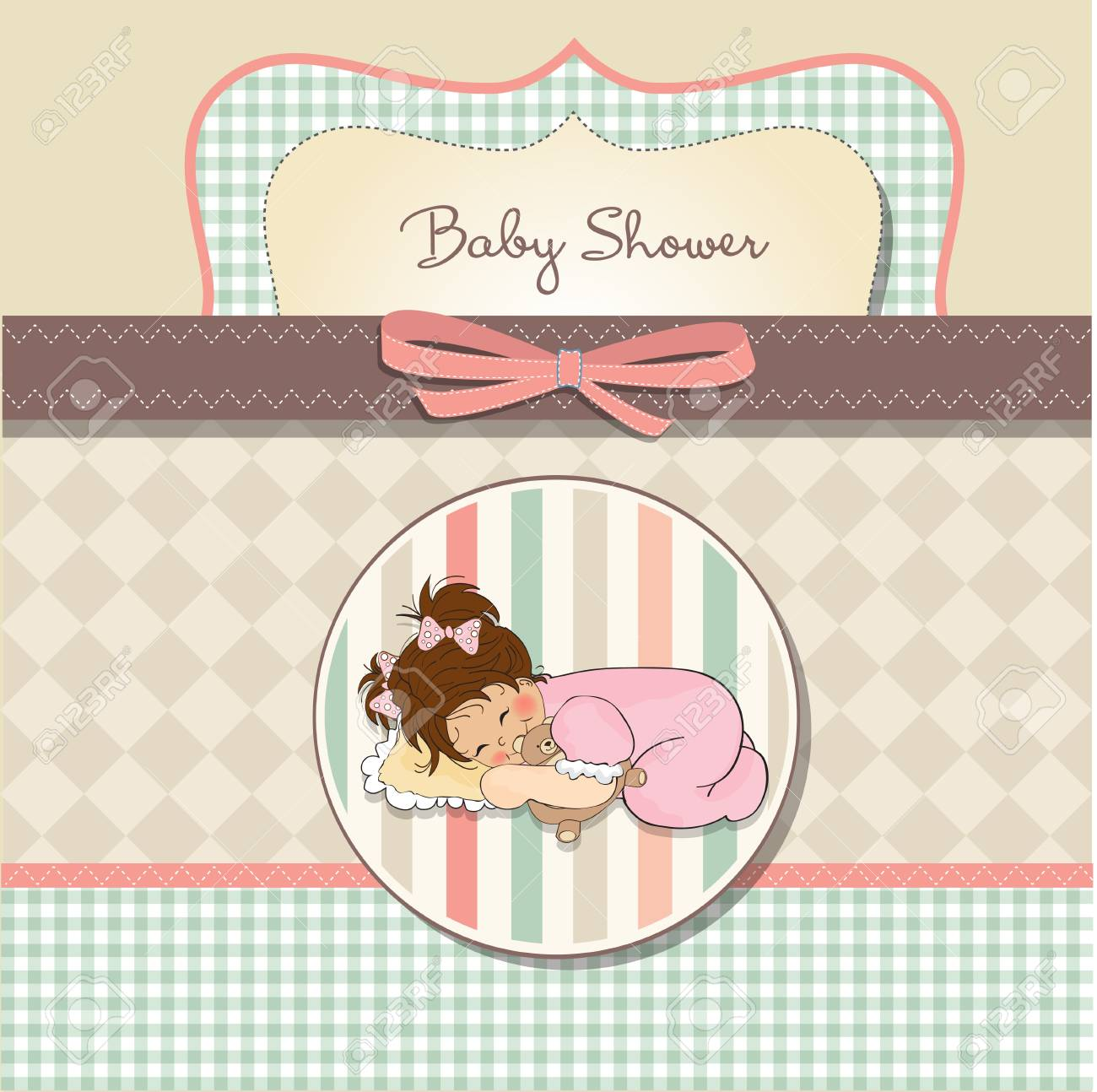 little baby girl play with her teddy bear toy Stock Vector - 12599594