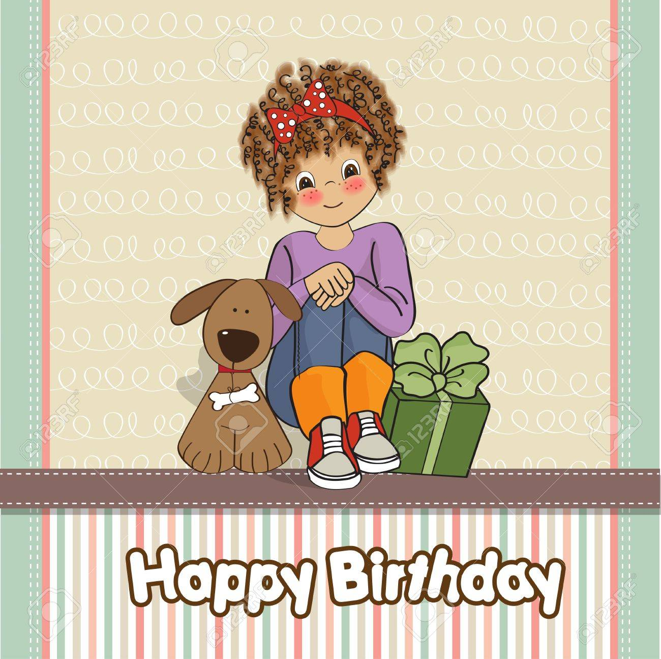 birthday greeting card with pretty little girl Stock Vector - 12599709