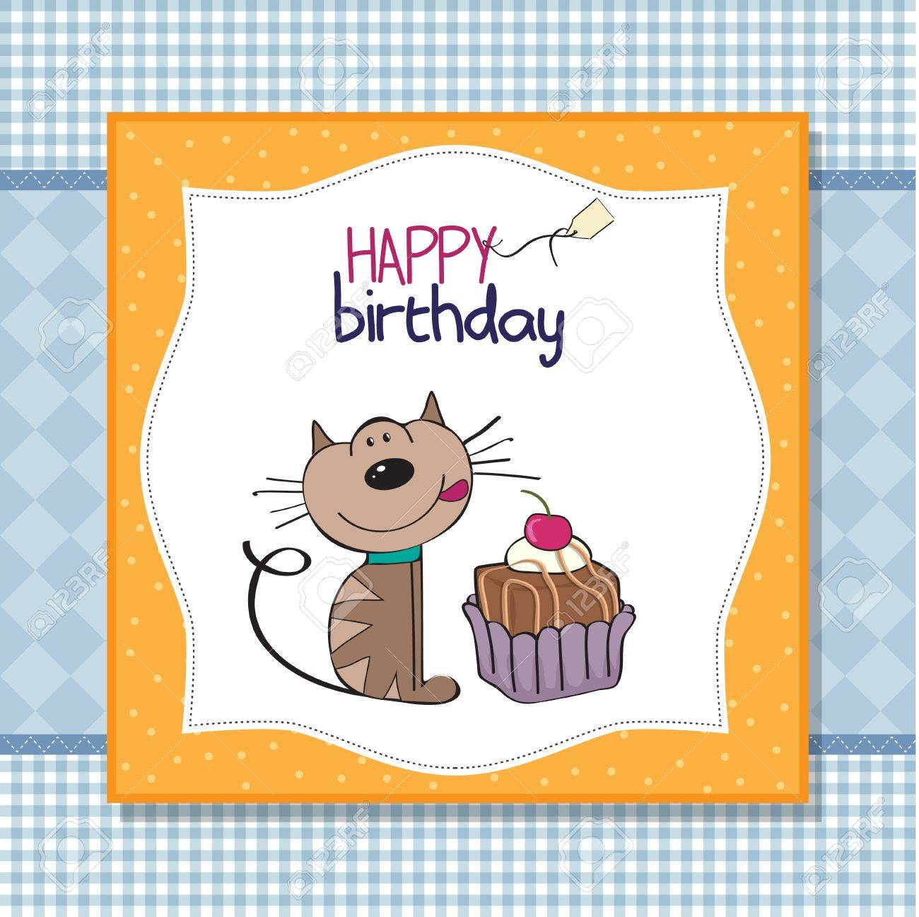 Birthday greeting card with a cat waiting to eat a cake royalty free birthday greeting card with a cat waiting to eat a cake stock vector 12704101 m4hsunfo