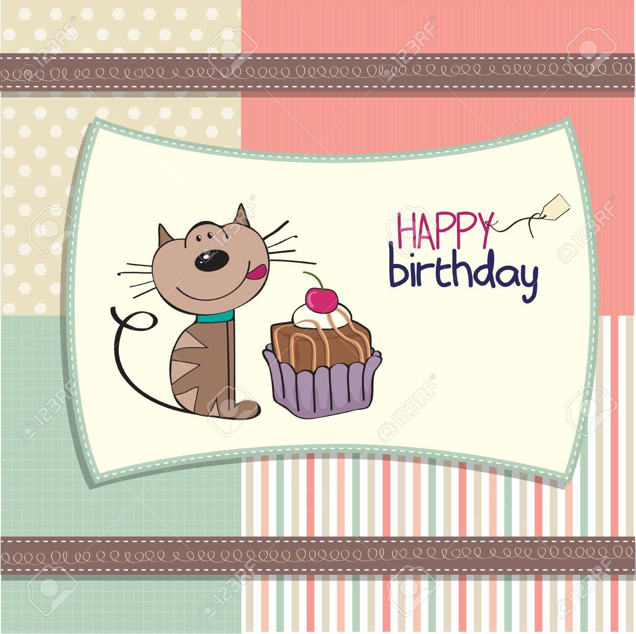 foto de archivo tarjeta de felicitacin de cumpleaos con un gato esperando para comer un pastel with comida cumpleaos