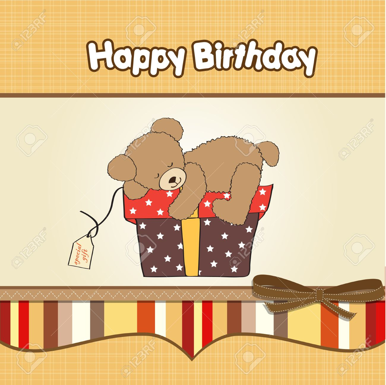 Birthday Greeting Card With Teddy Bear And Big Gift Box Royalty Free