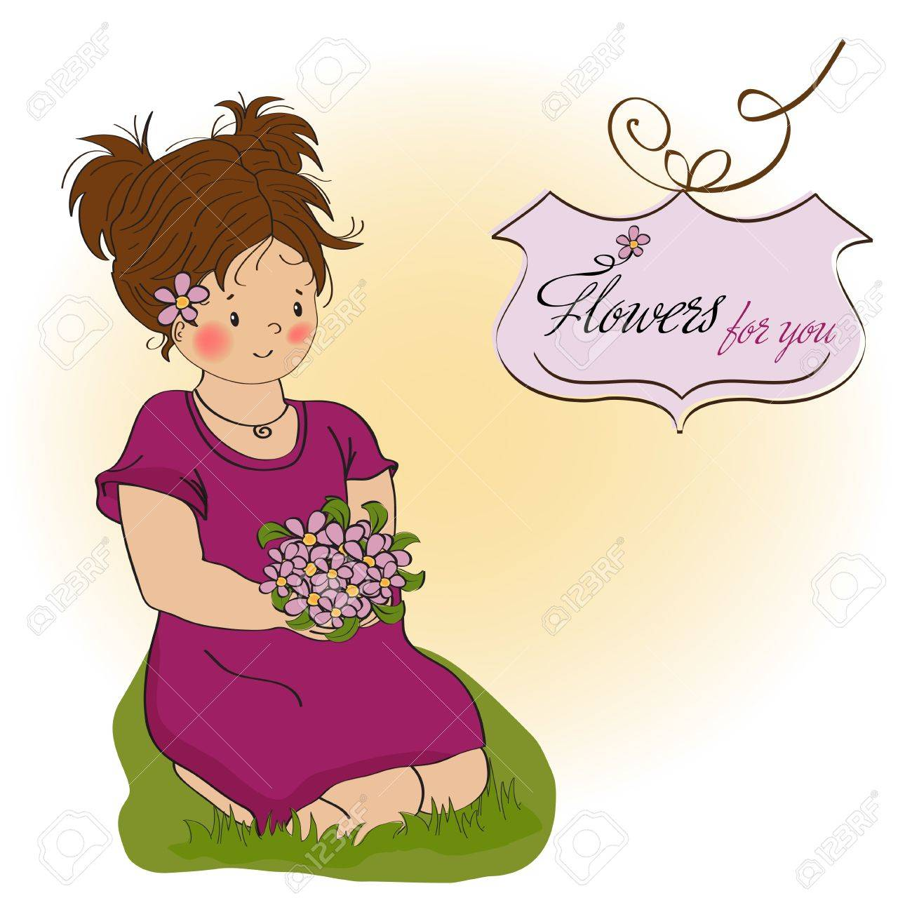 young girl with a bouquet of flowers birthday greeting card Stock Vector - 12704263