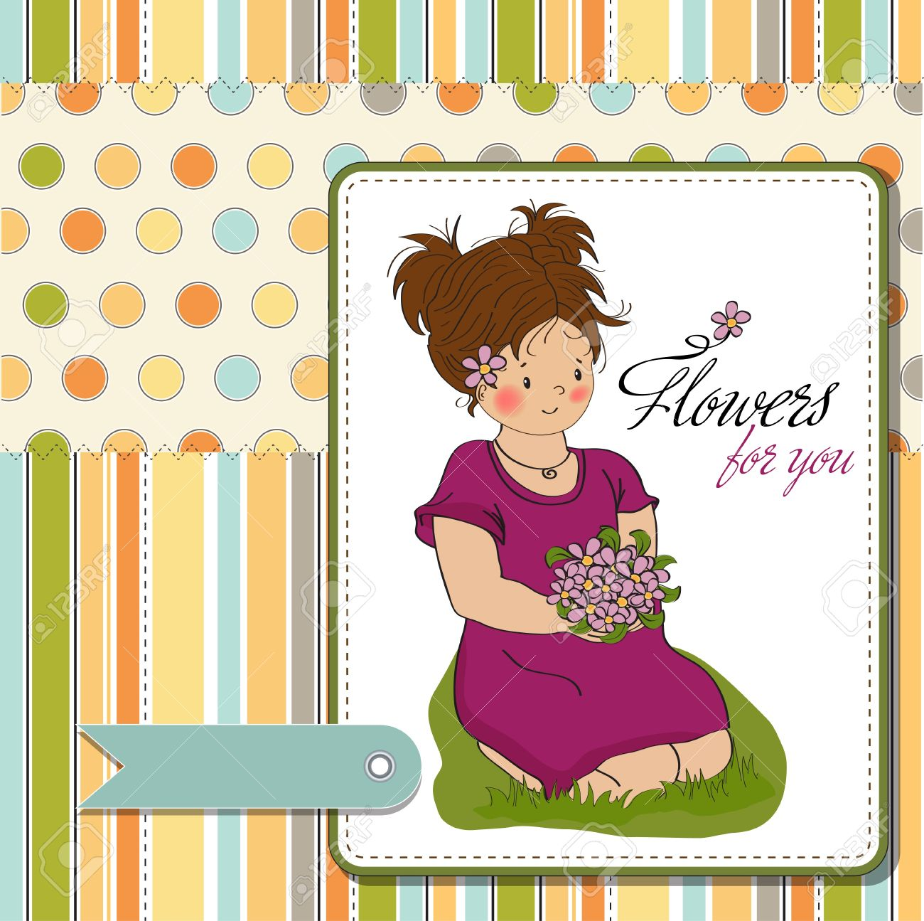 Young Girl With A Bouquet Of Flowers Birthday Greeting Card Royalty