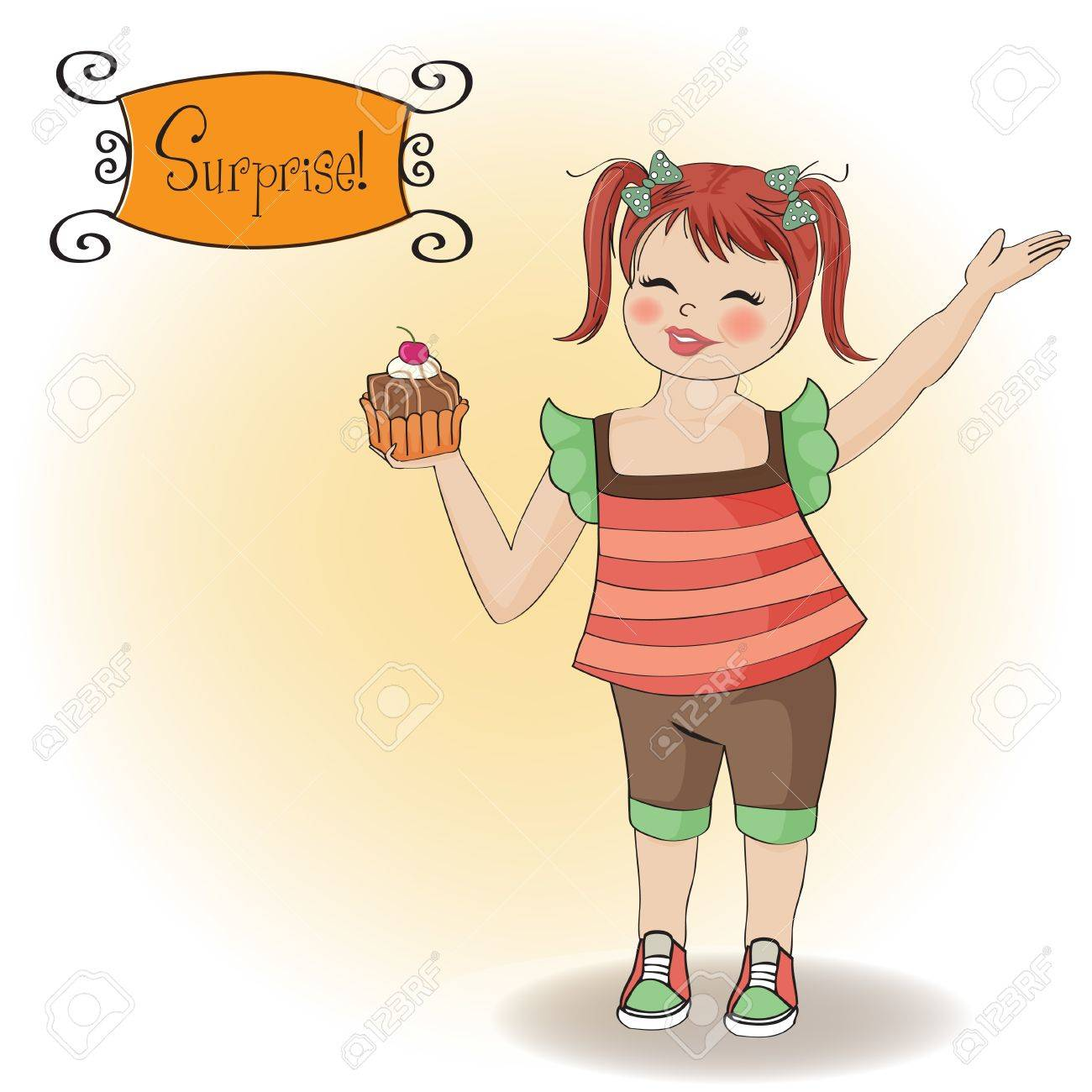 birthday greeting card with girl and big cupcake Stock Vector - 12704304