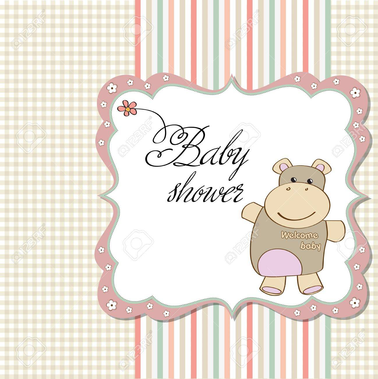 childish baby girl shower card with hippo toy Stock Vector - 12748900