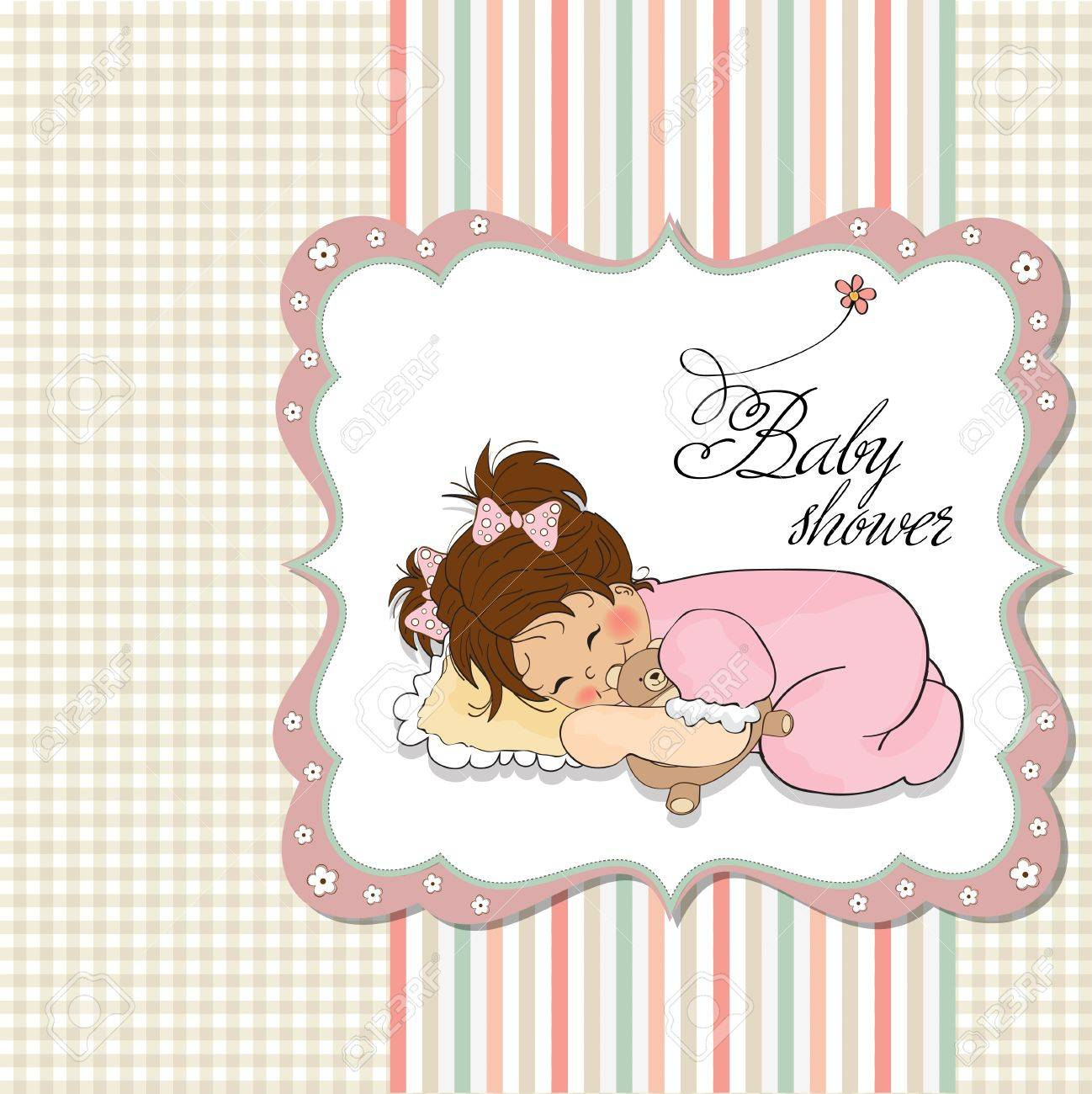 little baby girl play with her teddy bear toy Stock Vector - 12748901