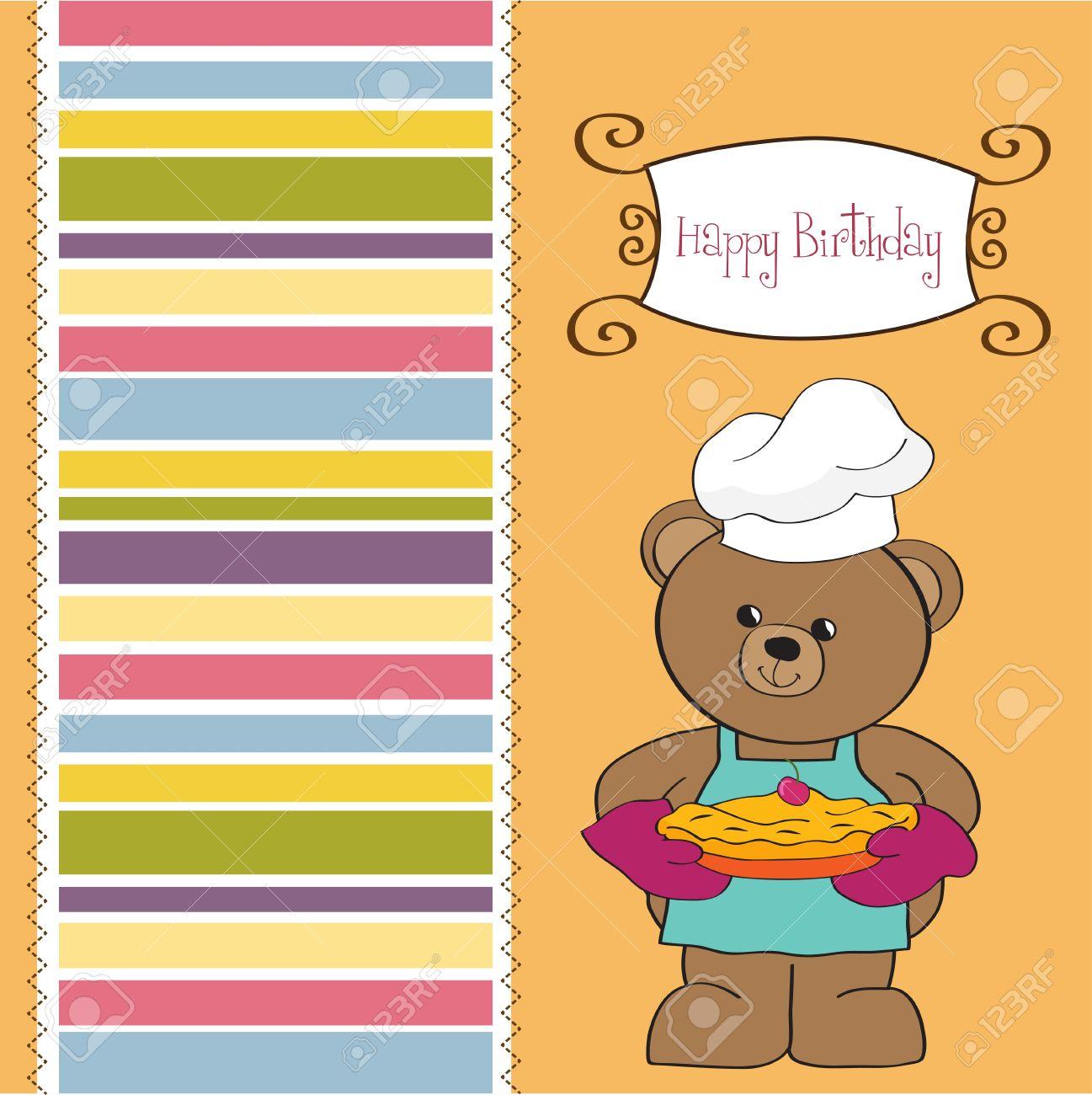 teddy bear with pie  birthday greeting card Stock Vector - 12748856