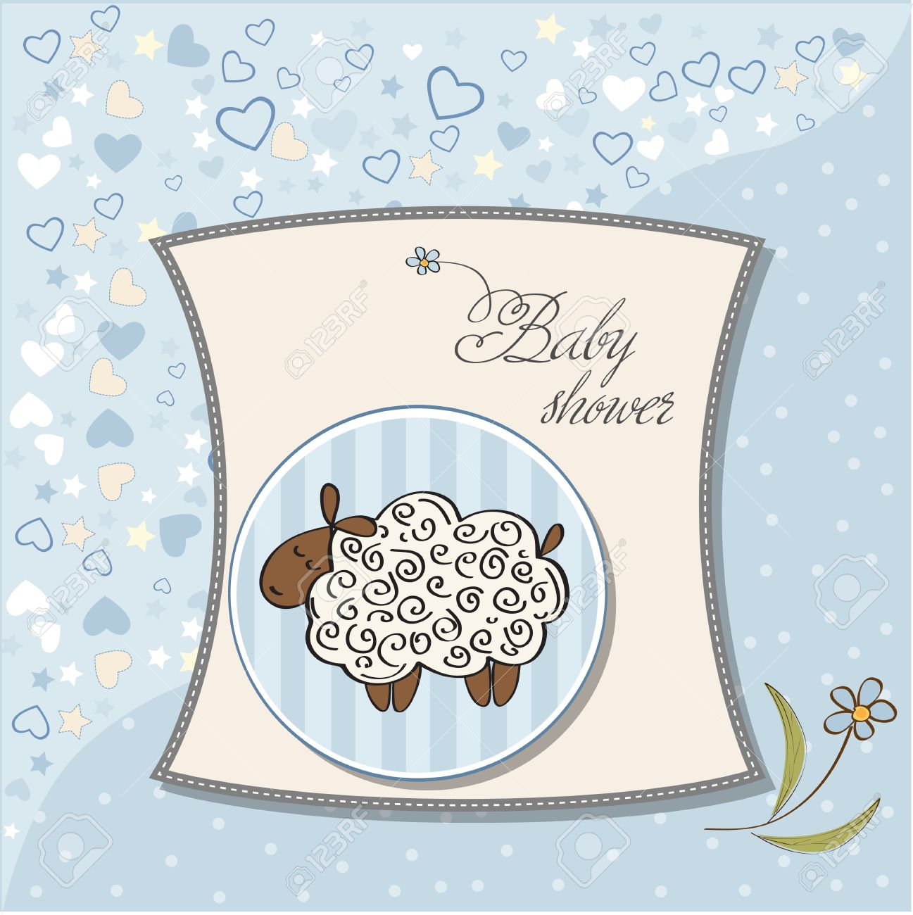 cute baby boy shower card with sheep Stock Vector - 12786085