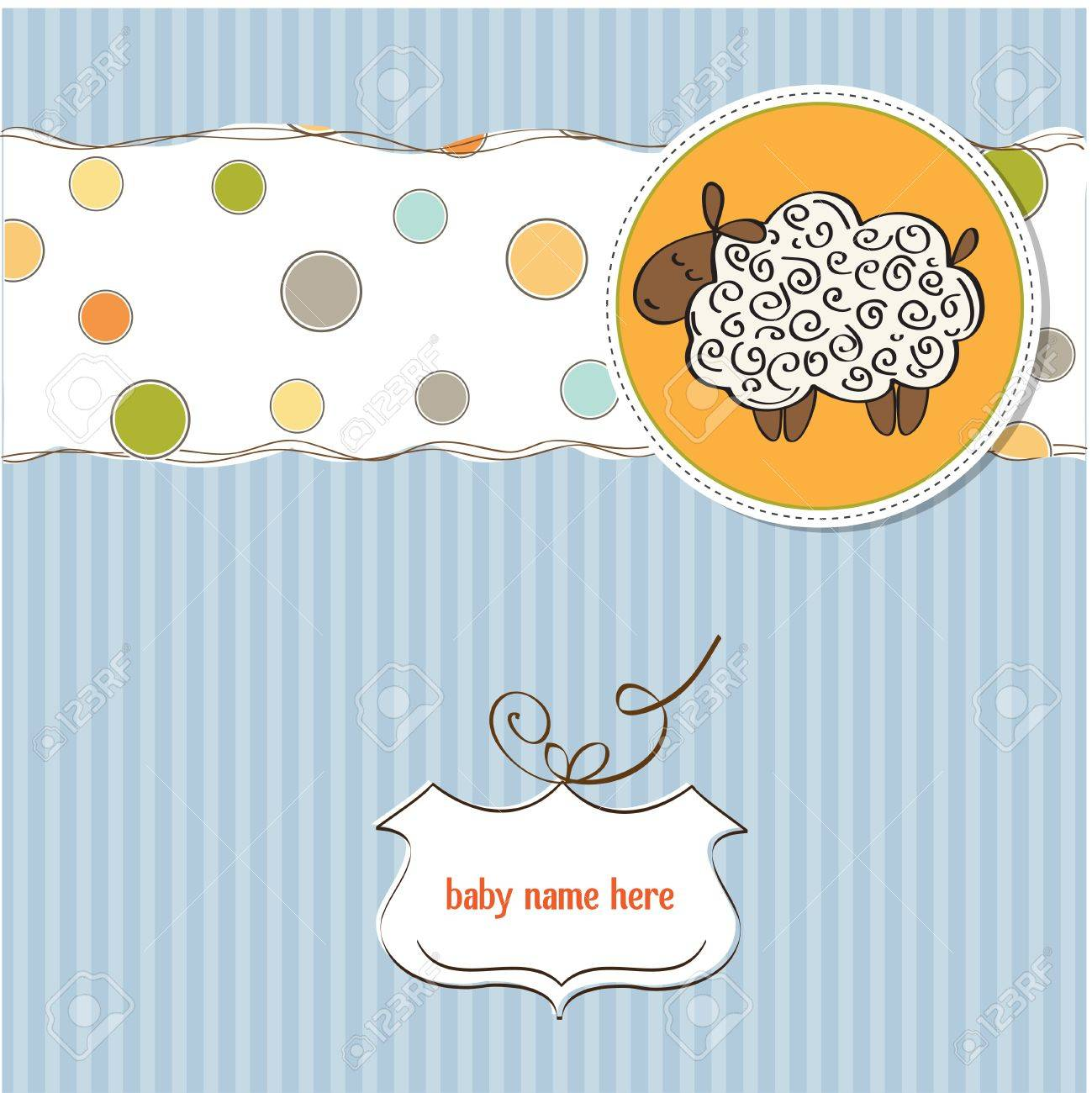 cute baby boy shower card with sheep Stock Vector - 12786048