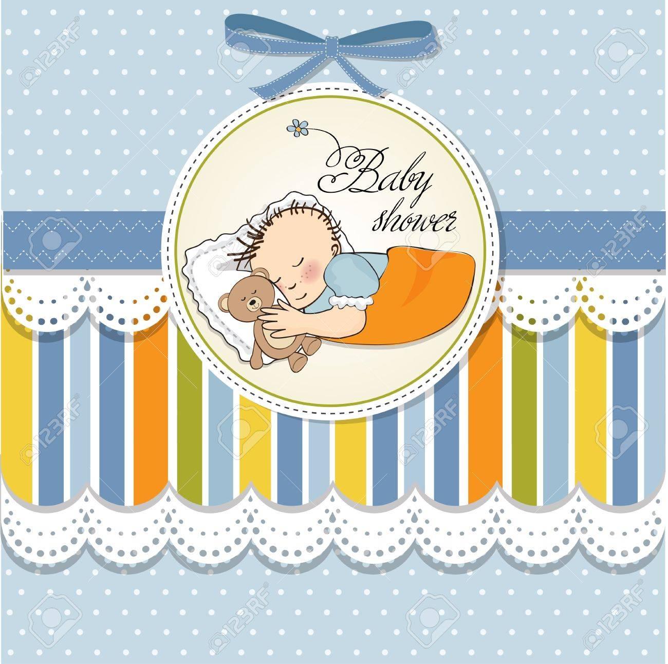 little baby boy sleep with his teddy bear toy  Baby shower card Stock Vector - 12786155