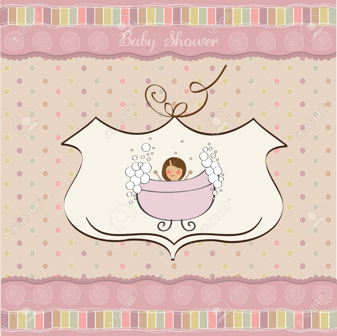 romantic baby shower card Stock Vector - 12786542