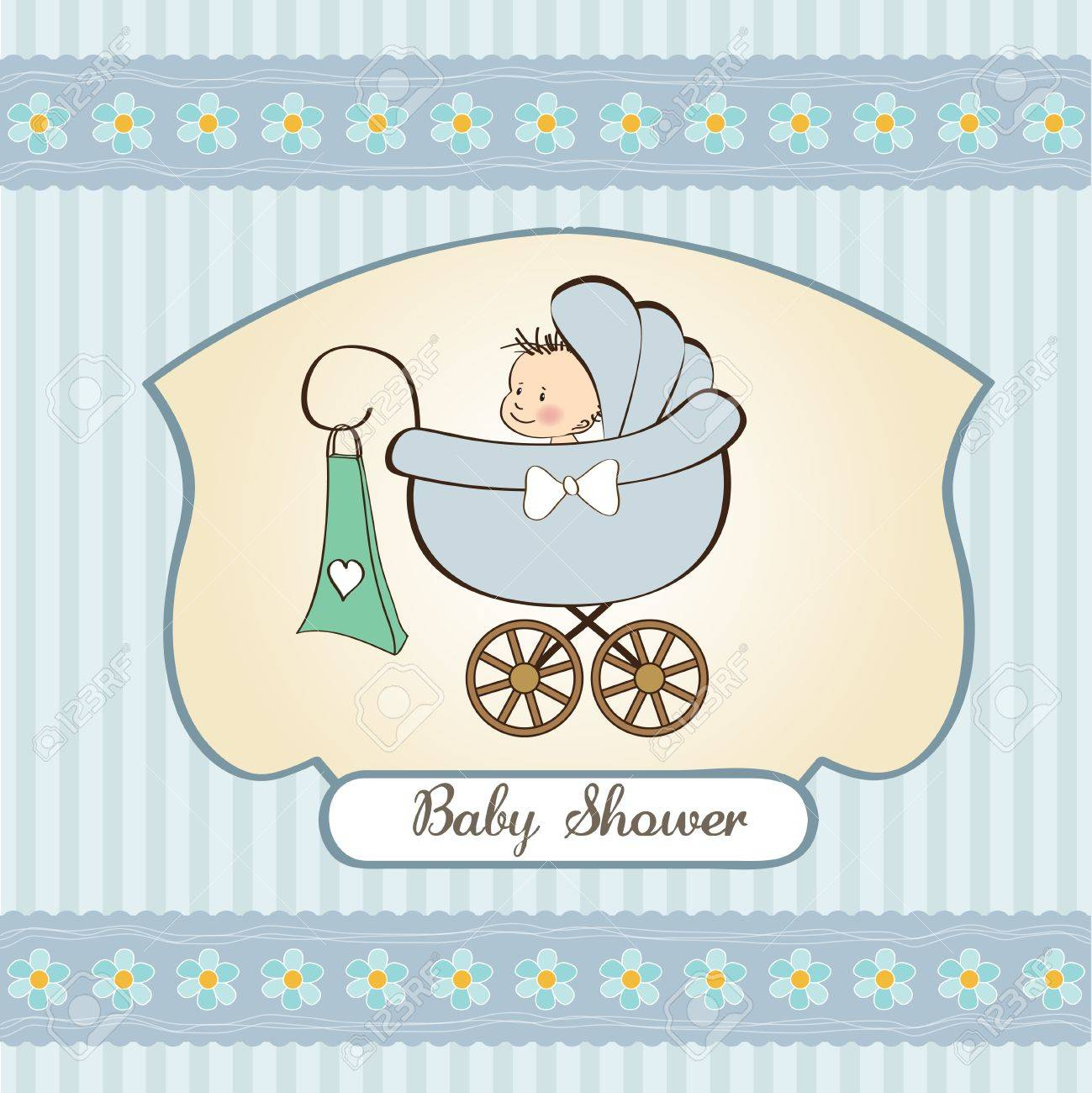 baby boy announcement card with baby and pram Stock Vector - 12786594