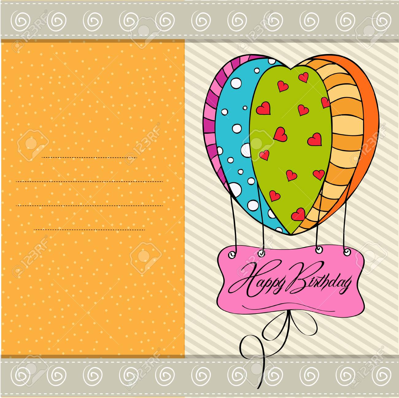 happy birthday card with balloons Stock Vector - 12786354