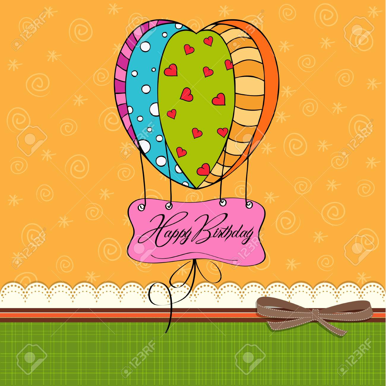 happy birthday card with balloons Stock Vector - 12786582