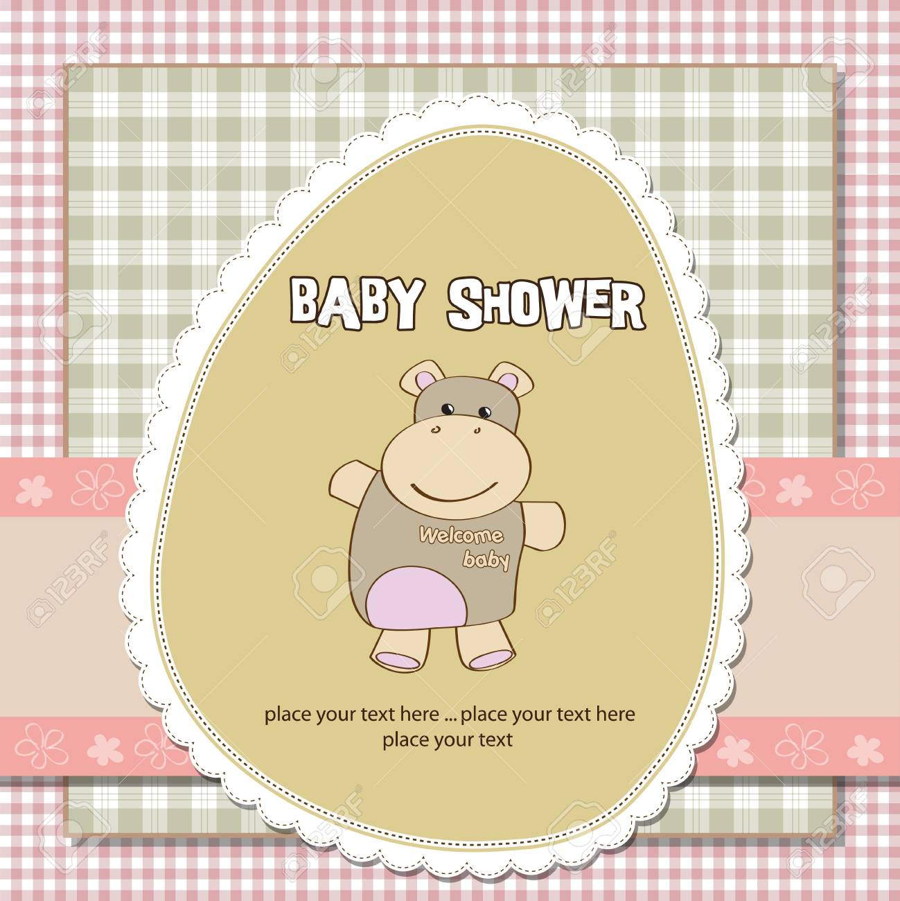 new baby girl shower card with hippo toy Stock Vector - 12786702