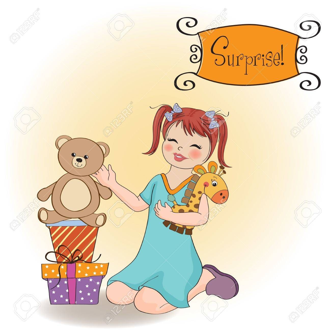 Little Girl Playing With Her Birthday Gifts Happy Birthday Card Royalty Free Cliparts Vectors And Stock Illustration Image 12786870