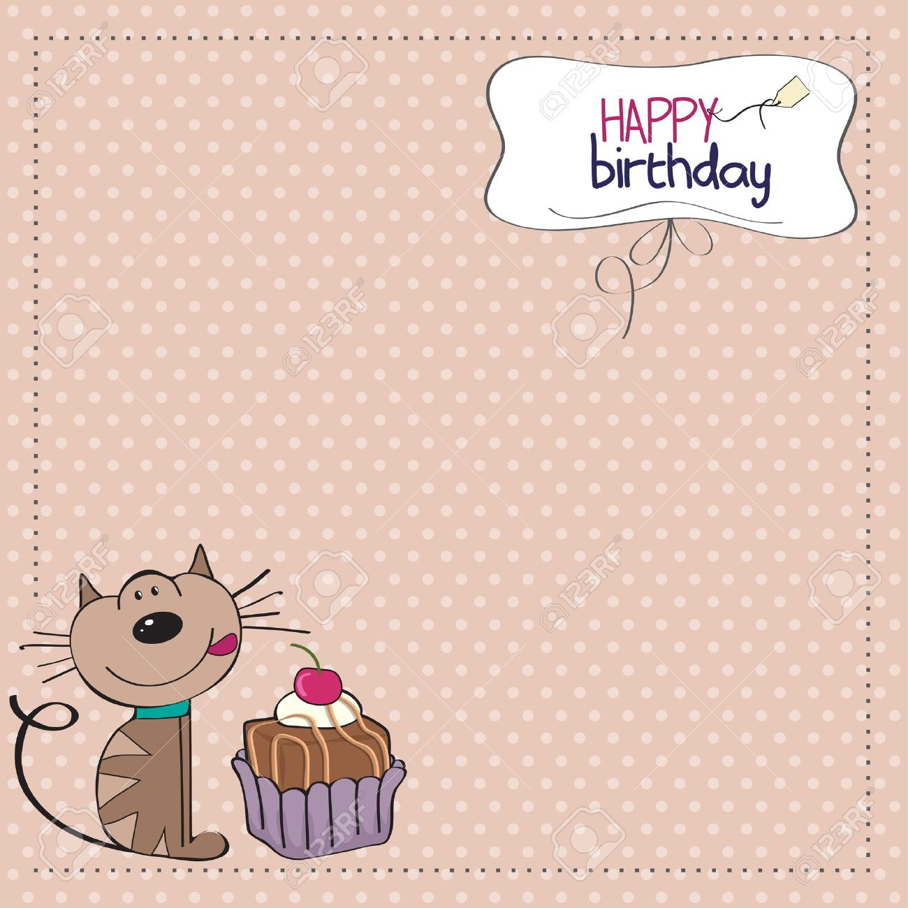 birthday greeting card with a cat waiting to eat a cake Stock Vector - 12816045