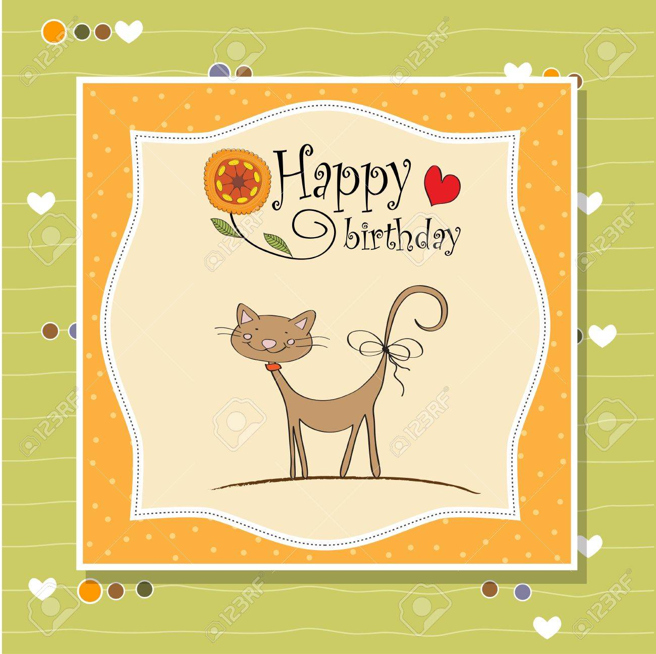 birthday greeting card with cat Stock Vector - 12816183