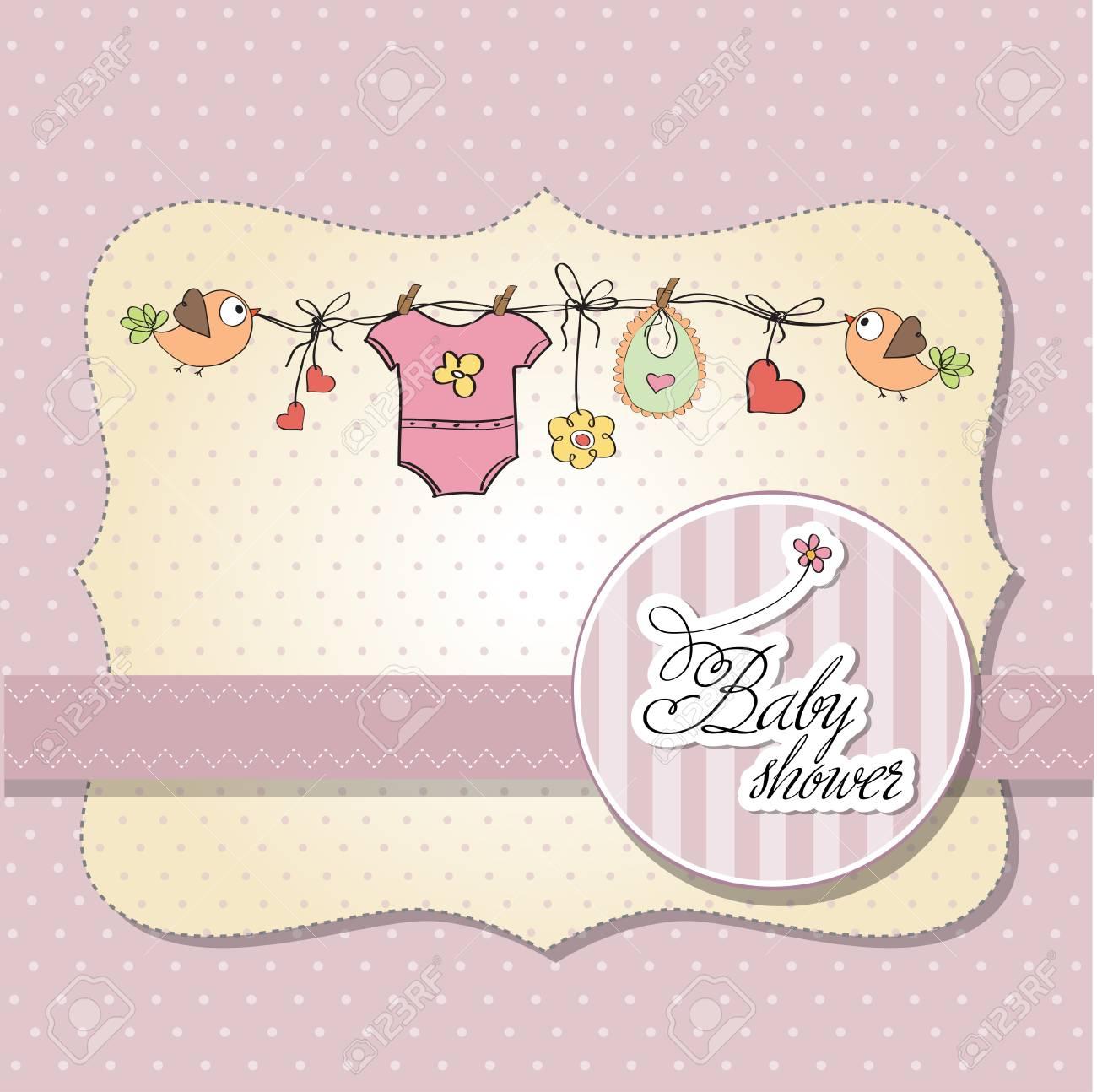 baby girl shower card Stock Vector - 12835066