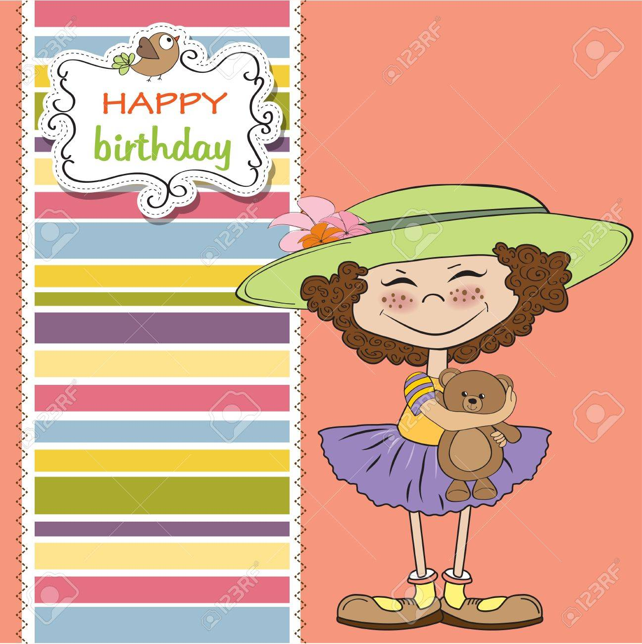 Cute Birthday Greeting Card With Girl And Her Teddy Bear Royalty – Cute Birthday Greeting Cards