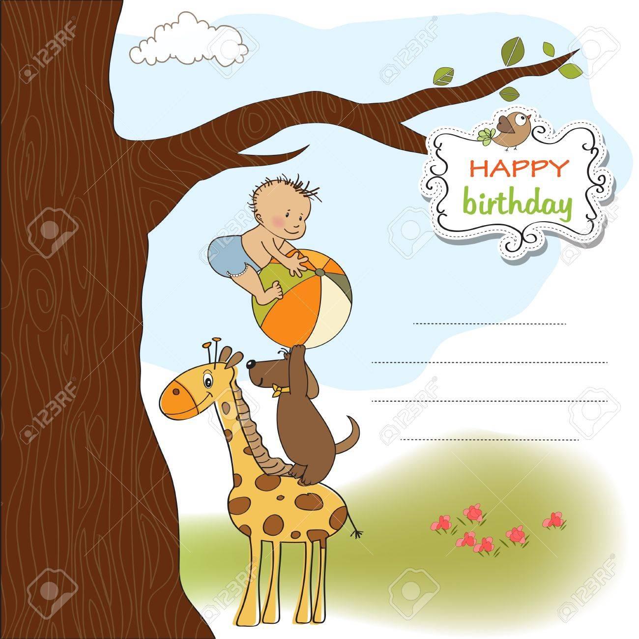Funny Cartoon Birthday Greeting Card Royalty Free Cliparts – Boy Birthday Greetings