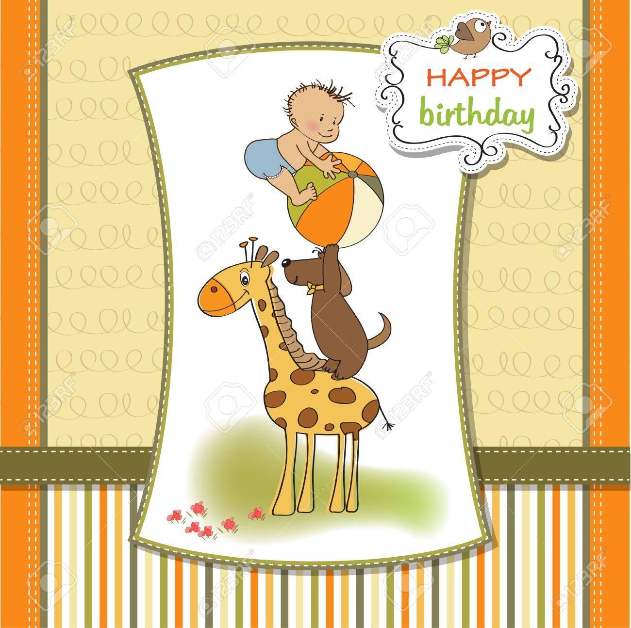 funny cartoon birthday greeting card Stock Vector - 12897251