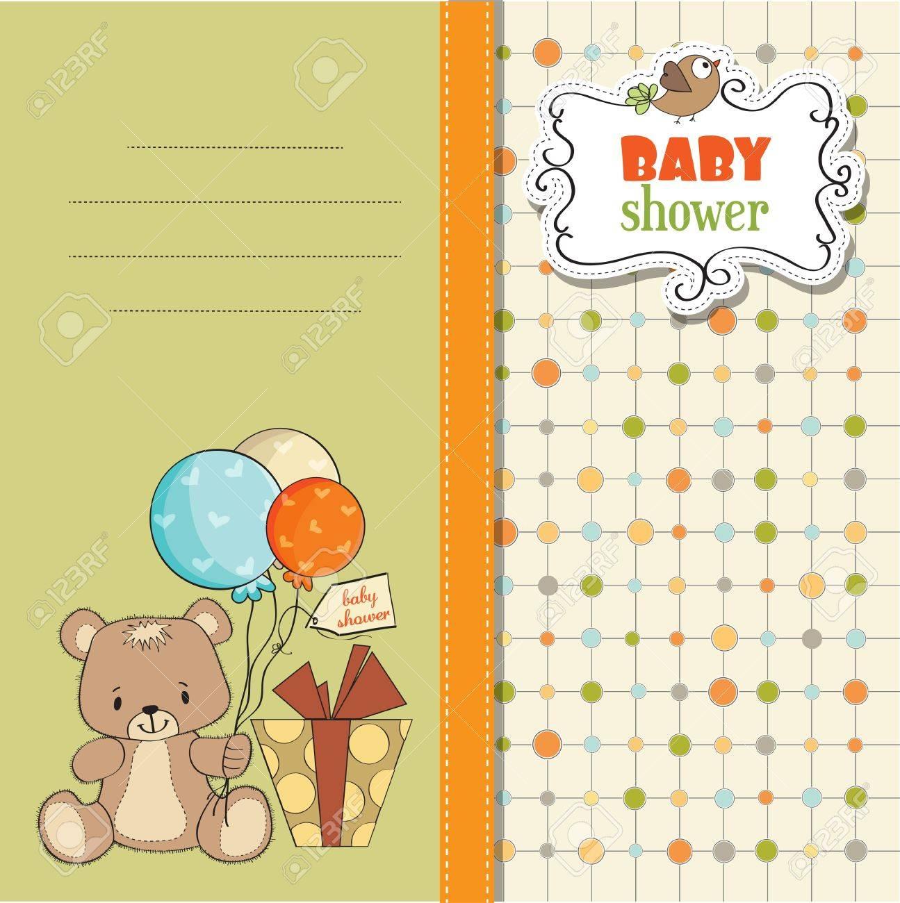 baby shoher card with cute teddy bear Stock Vector - 12897256