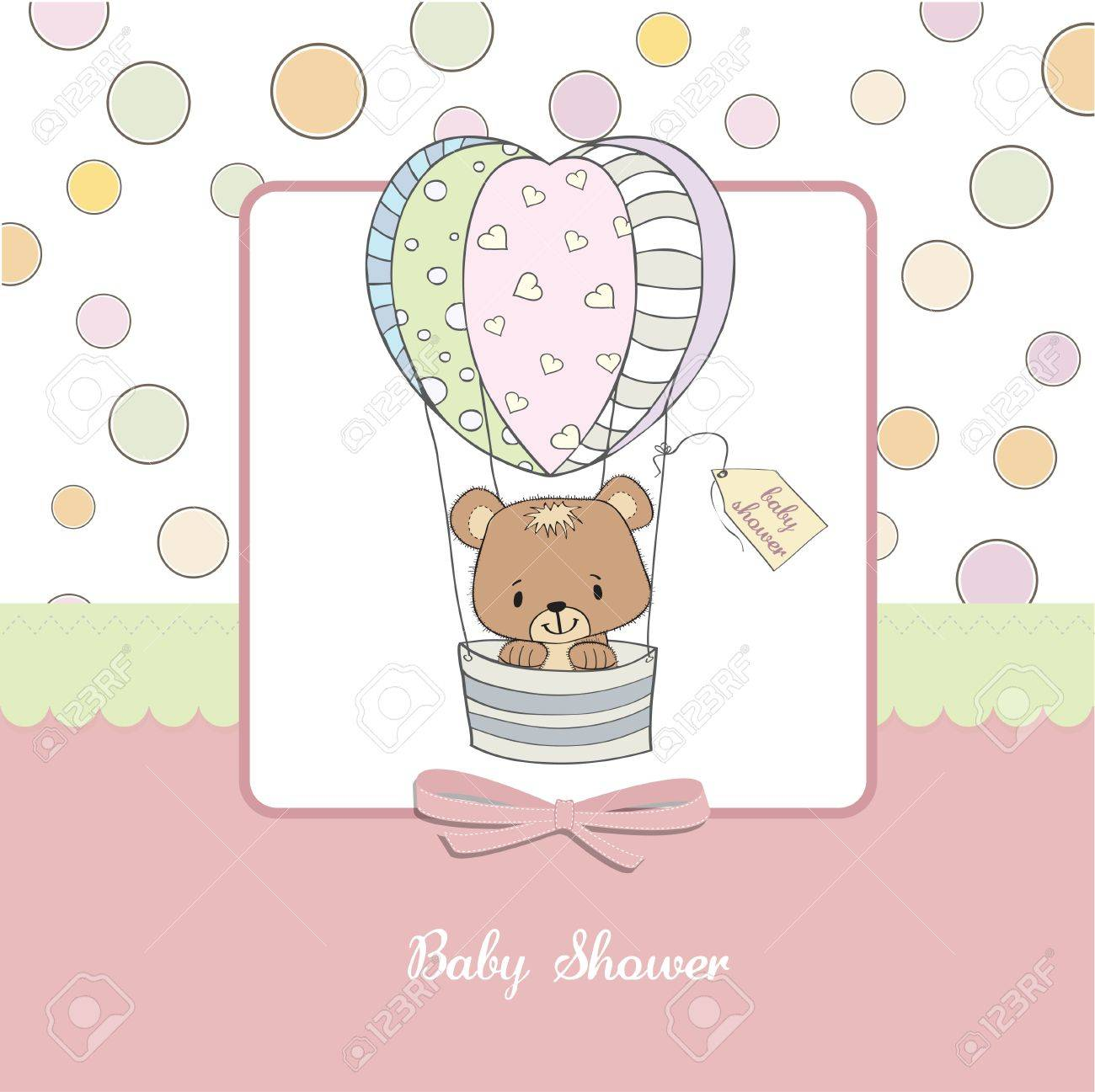 delicate baby shower card with teddy bear Stock Vector - 12897198