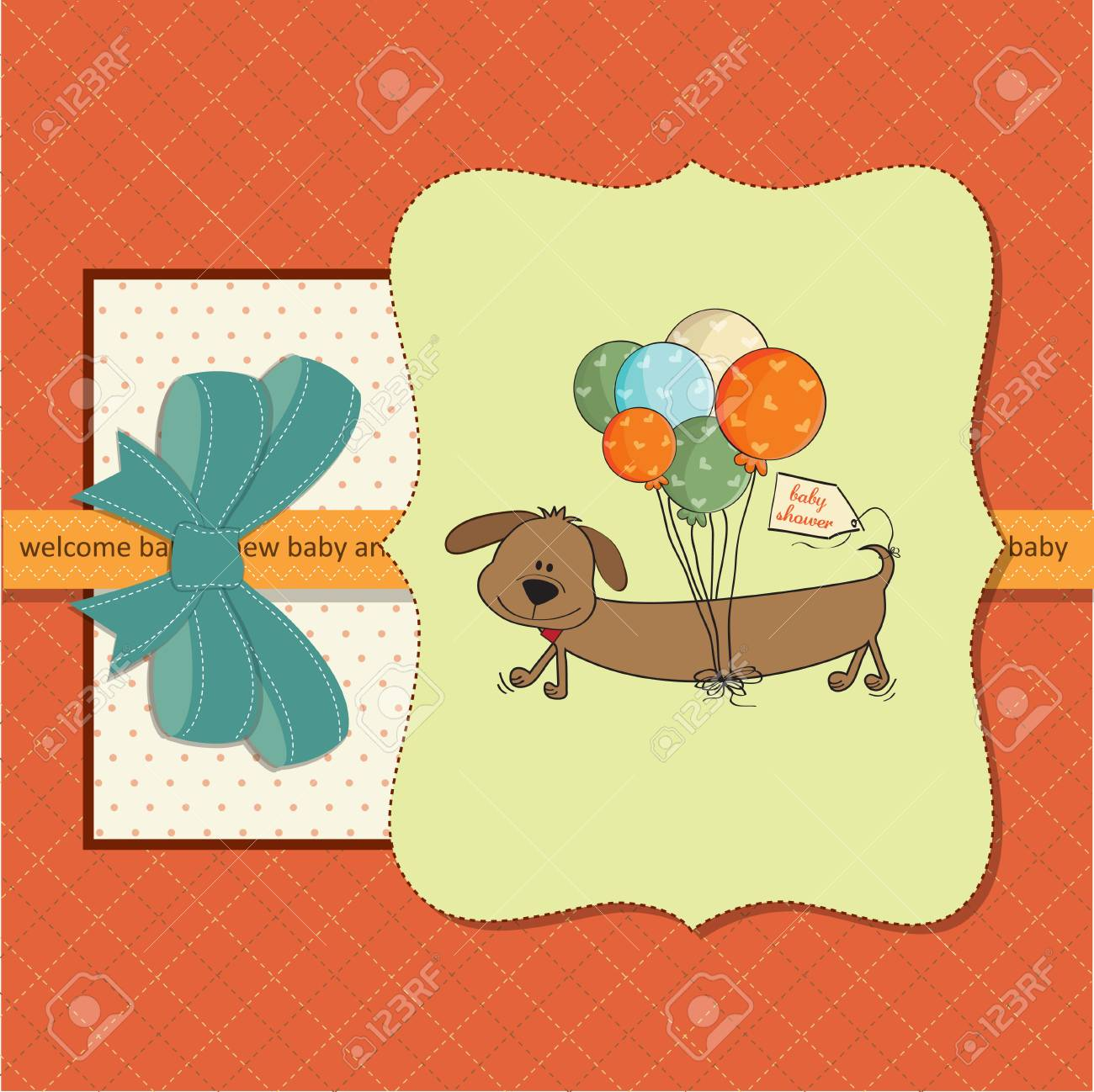 new baby  shower card Stock Vector - 13124337