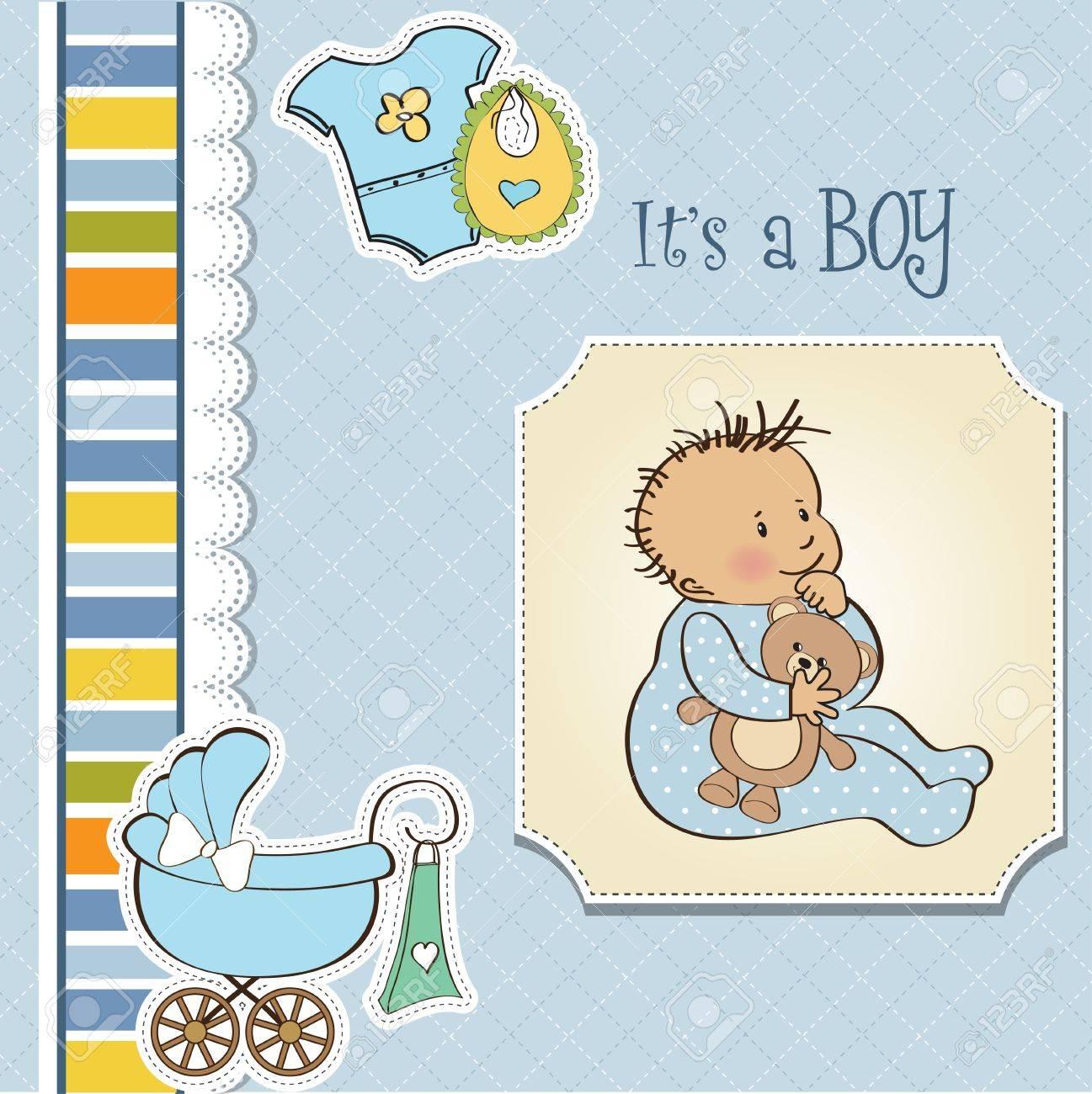 baby boy shower card Stock Vector - 13229652