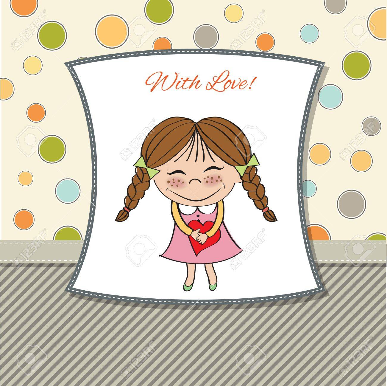 Funny girl with hearts  Doodle cartoon character  Vector Illustration Stock Vector - 13270385