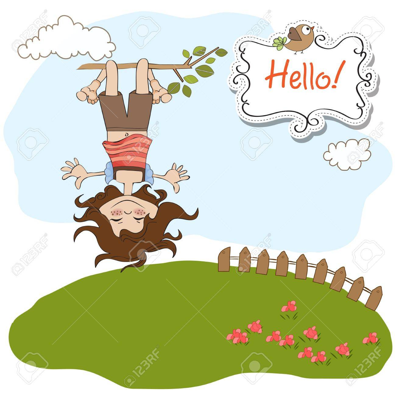 amused young girl standing with her head hanging down Stock Vector - 13423322
