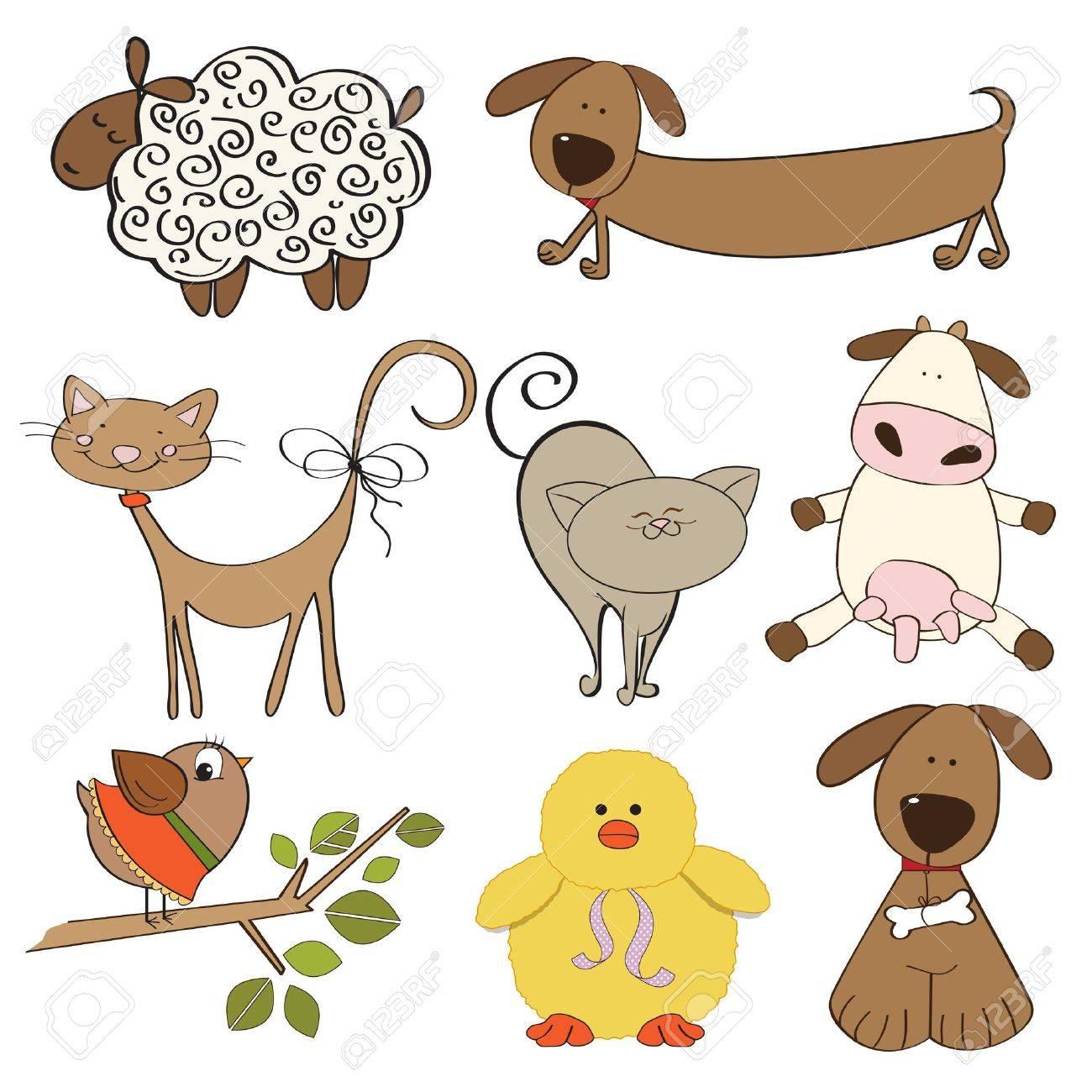 illustration of isolated farm animals set on white background Stock Vector - 13543047