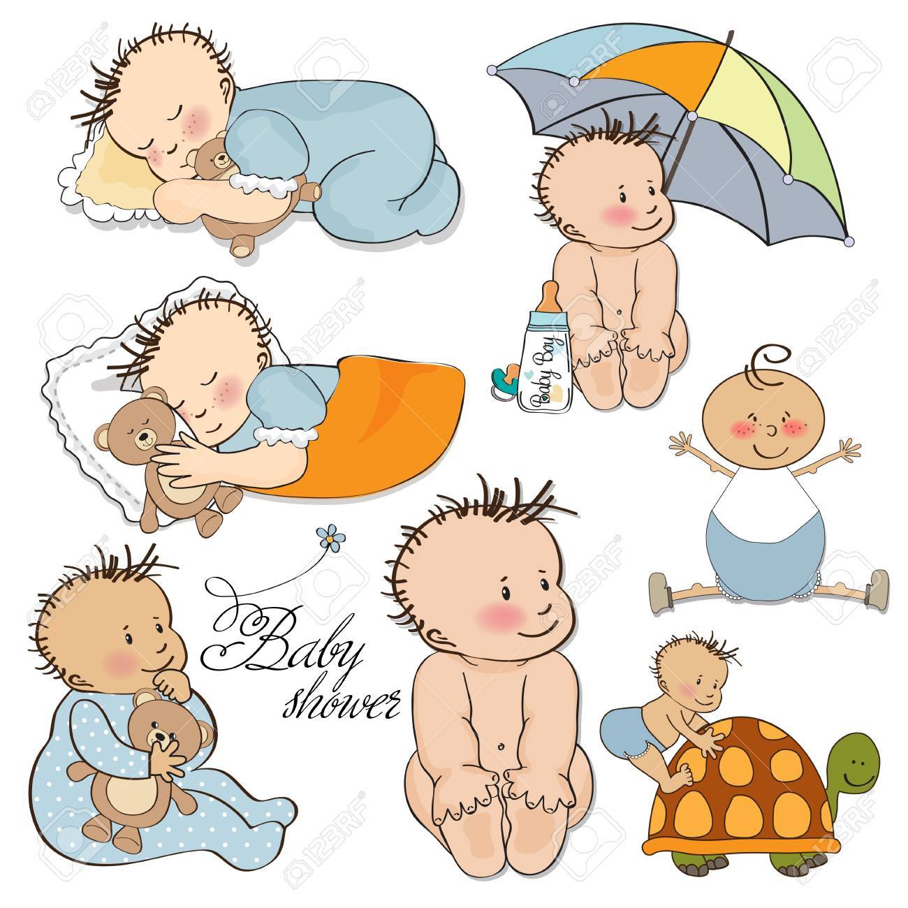 baby boy set isolated on white background Stock Vector - 13522724