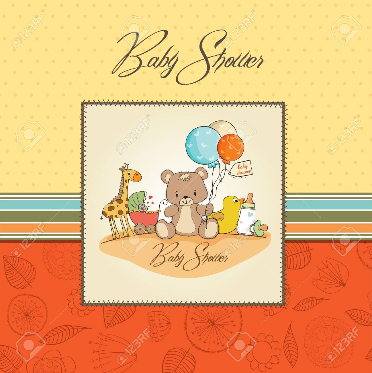baby shower card with toys Stock Vector - 13608087