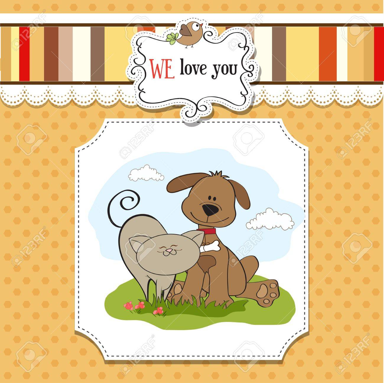 dog   cat s friendship Stock Vector - 13543080