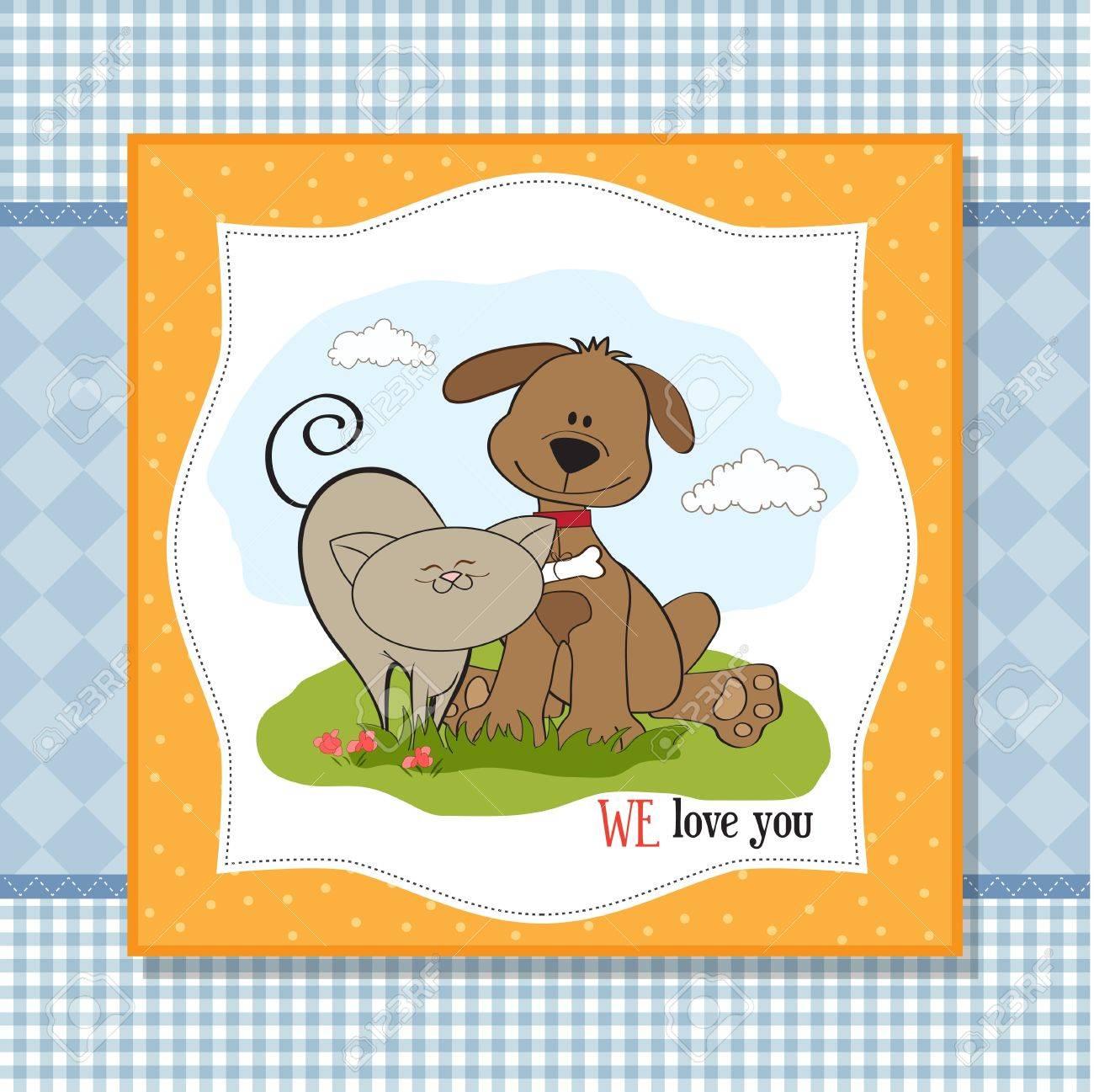 dog   cat s friendship Stock Vector - 13543078