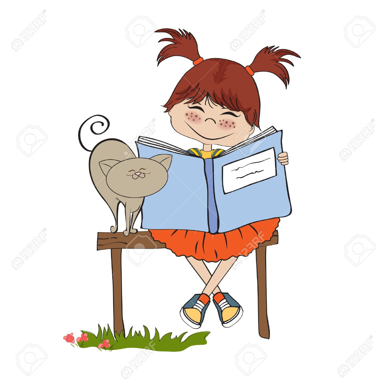 young sweet girl reading a book - 13884604