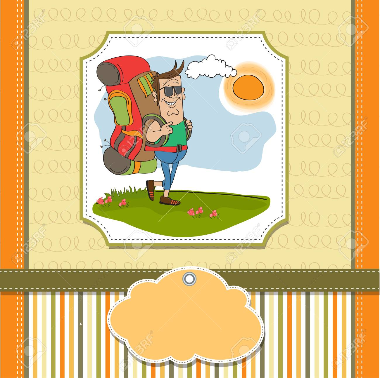 tourist man traveling with backpack Stock Vector - 14056164
