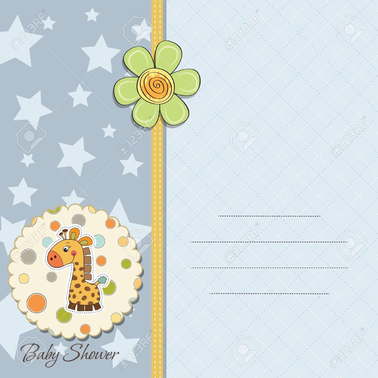 new baby boy announcement card with giraffe Stock Vector - 14169139