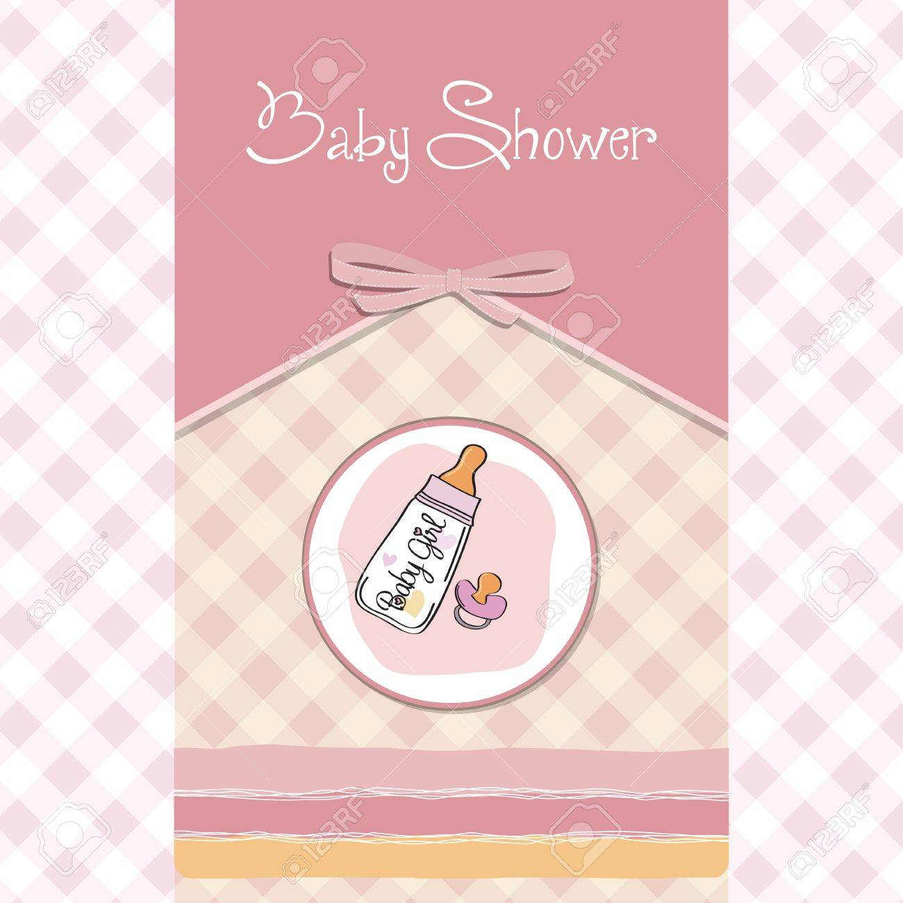 new baby girl announcement card with milk bottle and pacifier