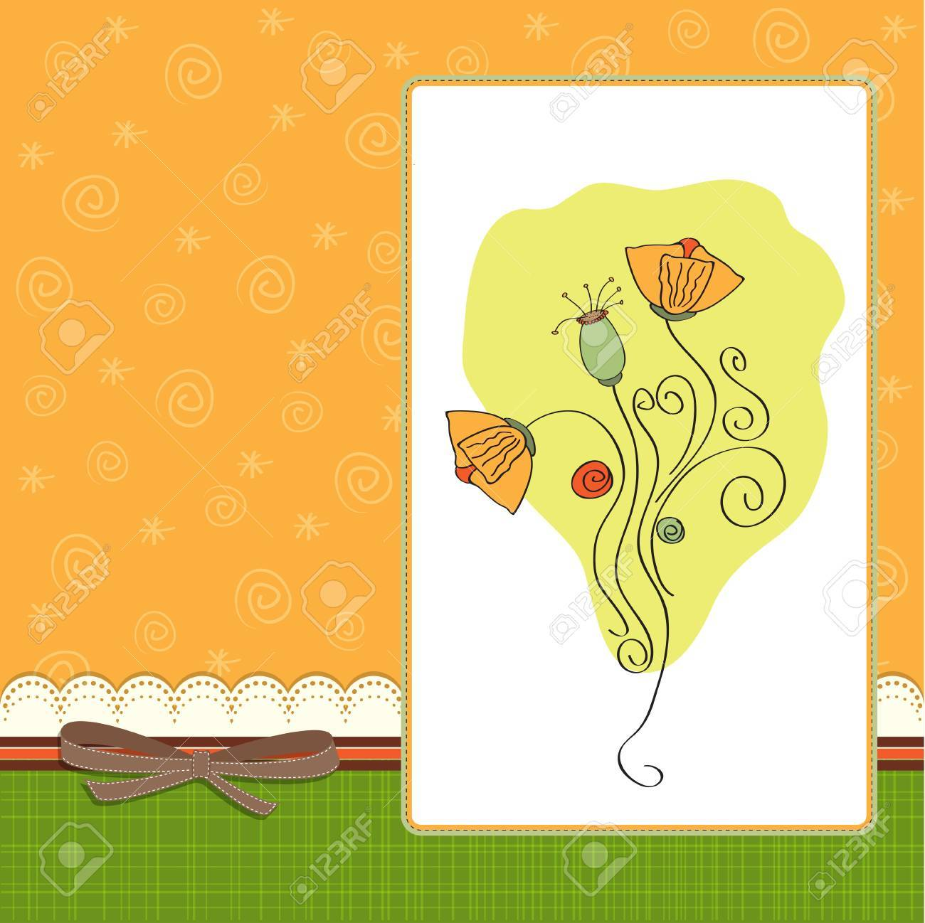 thank you greeting card with flower Stock Vector - 14206103